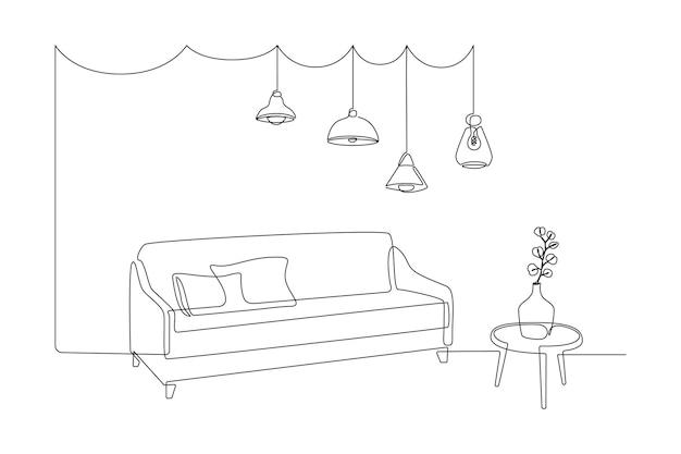 モンステラの葉と吊り下げ式のペンダントロフトが付いた花瓶付きのソファとテーブルの連続した1本の線画...