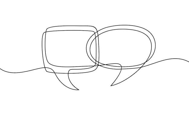 Непрерывный рисунок одной линии речи пузырь черно-белая графика векторная иллюстрация