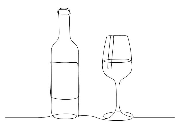 와인 잔과 병의 연속적인 한 선 그리기. 선형 스타일로 컵에 마신다. 편집 가능한 스트로크. 레스토랑 및 바 메뉴에 대한 흑백 벡터 일러스트 레이 션