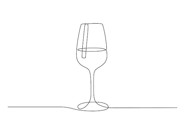 와인 잔의 연속적인 한 선 그리기. 낙서 스타일의 컵에 마신다. 얇은 편집 가능한 획입니다. 흑인과 백인 벡터 일러스트 레이 션