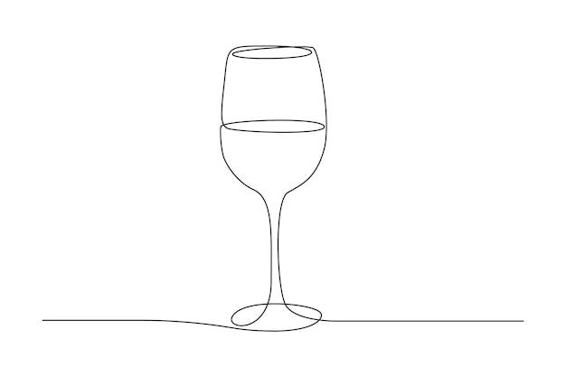 와인 잔의 연속적인 한 선 그리기. 간단한 선형 스타일로 컵에 마십니다. 편집 가능한 스트로크. 흑인과 백인 벡터 일러스트 레이 션