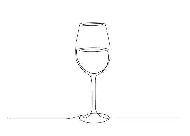 와인 잔의 연속적인 한 선 그리기. 편집 가능한 스트로크 벡터 일러스트 레이 션