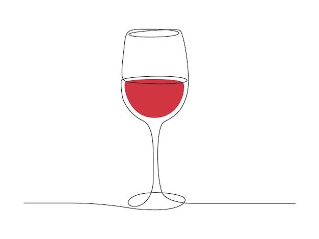 와인 잔의 연속적인 한 선 그리기. 간단한 선형 스타일의 컵에 있는 레드 음료. 편집 가능한 스트로크 벡터 일러스트 레이 션