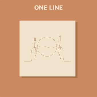 Непрерывный рисунок одной линии ресторан логотип тарелка вилка и ложка
