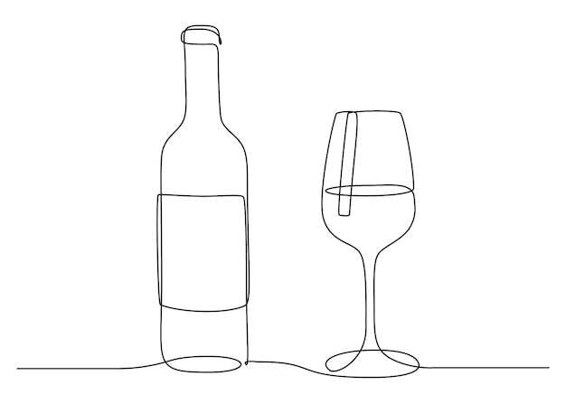 Continuous one line drawing of wine glass and bottle. drink in cup in linear style. editable stroke. black and white vector illustration for restaurant and bar menu Premium Vector