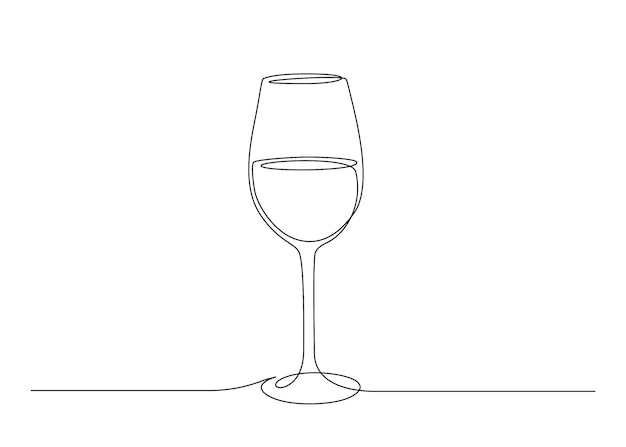 Continuous one line drawing of wine glass. editable stroke vector illustration