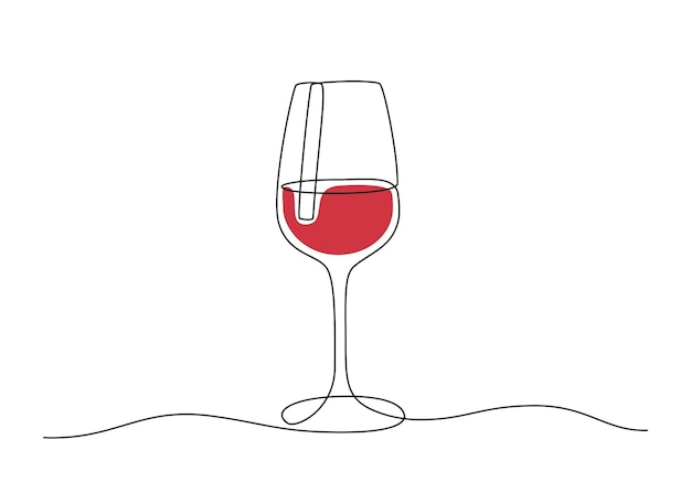 Continuous one line drawing of wine glass. red drink in cup in doodle style. editable stroke. black and white vector illustration