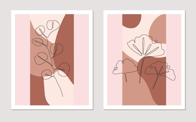 ユーカリとイチョウを使った連続した1本の線画。植物の壁の芸術