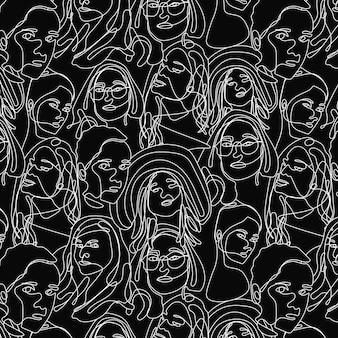 Непрерывный рисунок одной линии лицо женщины бесшовные модели. искусство линии лица женщины