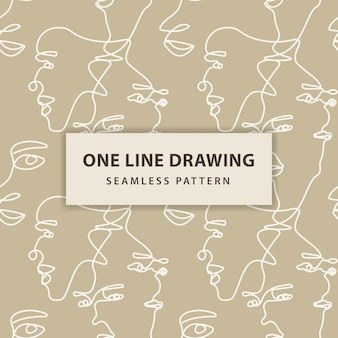 Continuous one line drawing woman face seamless pattern. woman face line art