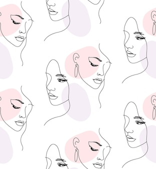 Непрерывная одна линия женское лицо портрет бесшовные модели
