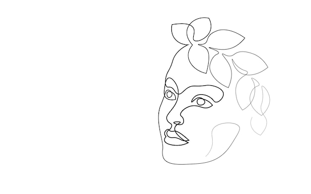 Continuous one single line art girl face concept. beautiful woman portrait fashion hair hand drawn sketch. beauty happy smiling young lady side head black white monochrome vector illustration.