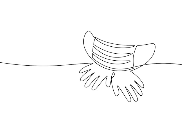 Continuous one single line art safety mask concept. pandemic covid coronavirus safe hand drawn sketch. gloves mask epidemia pneumonia allergy white monochrome vector illustration.