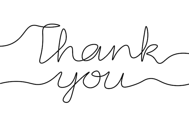 Continuous one single line art thank you concept. greeting card lettering date hand drawn sketch. sign letters script font white monochrome vector illustration.