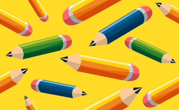 黄色の背景に学校のテーマに戻る色鉛筆の連続印刷