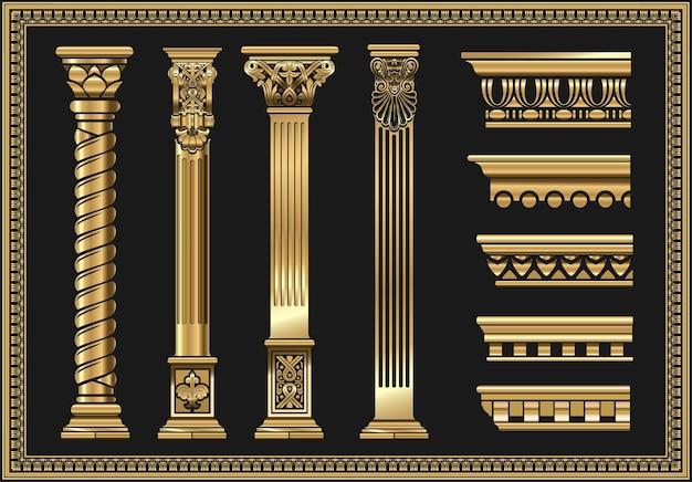 고전 기둥의 윤곽선 색칠. 벡터 그래픽의 패턴 집합