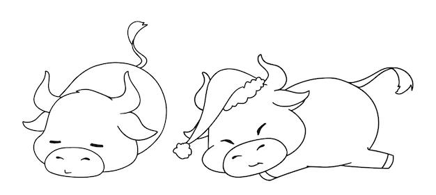 塗り絵のクリスマスの衣装を着ている2つの異なる小さな牛の輪郭のイラスト