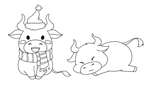 Contour illustration of two different little cow wearing christmas costume