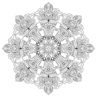 Contour mandala for coloring book. decorative round ornament. anti-stress therapy pattern. floral design element.