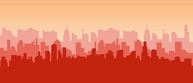 Контур небоскребов, панорама города.