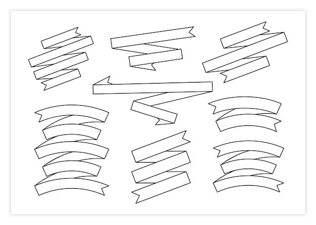 Contour ribbon banner vector set illustration black line curved shape ribbon scroll flag or curled