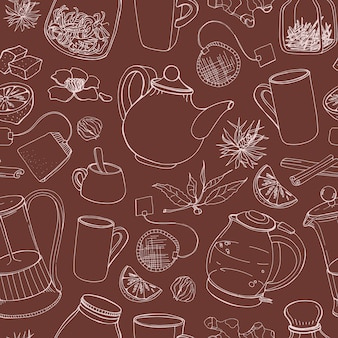 Contour seamless pattern with hand drawn tools for preparing and drinking tea - electric kettle, french press, teapot, cup, mug, sugar, lemon, herbs and spices. illustration for fabric print.