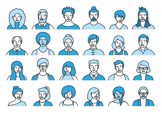 フラットスタイルの人、アバター、さまざまな民族や年齢の人の頭の輪郭のセット。多重国籍の人々は、ソーシャルネットワークのラインアイコンコレクションに直面しています。