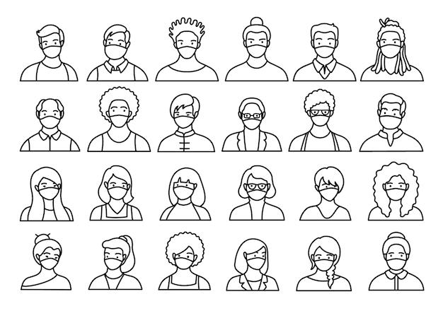 Контурный набор людей, аватаров, голов людей разных национальностей и возрастов в плоском стиле.
