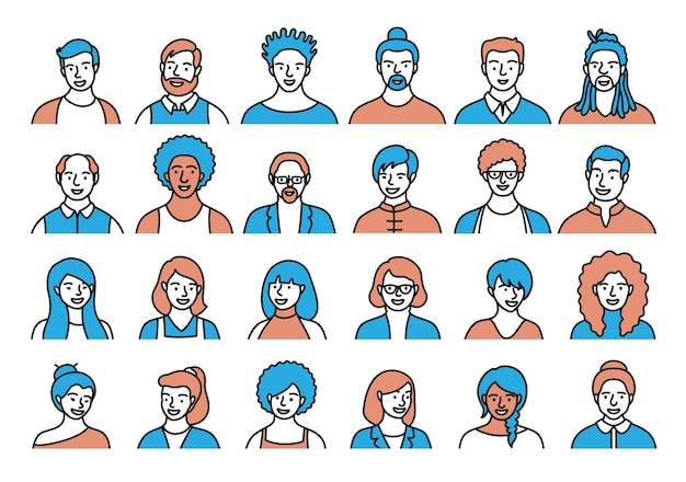 Contour set of persons, avatars, people heads of different ethnicity and age in flat style. multi nationality people faces social network line icons collection.