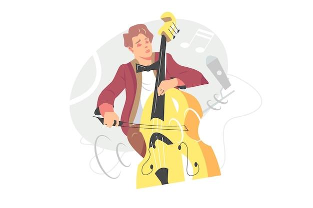 Контрабасист играет векторную иллюстрацию джазовой музыки. сольное исполнение на контрабасе в плоском стиле. блюз, хобби, концепция живого концерта. изолированные на белом фоне