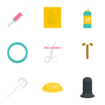Contraception day icon set. flat set of 9 contraception day icons