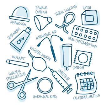 Contraception methods illustration concept