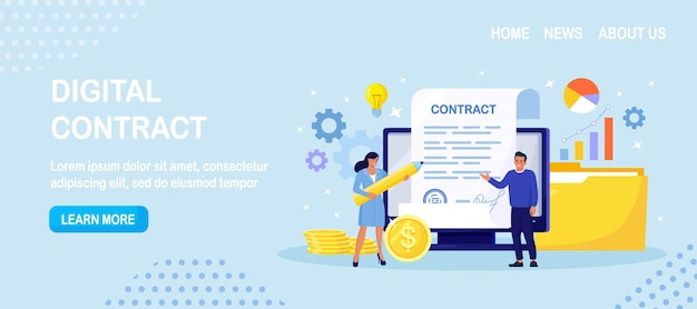Contract agreement. electronic document signature. tiny business people inspecting contract document, reading privacy policy and terms and conditions. businessman signing official paper