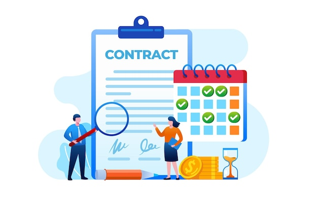 Contract agreement with client. time line flat vector illustration template