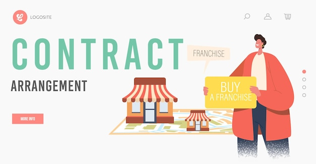 Contract arrangement landing page template. male character holding banner with inscription buy franchise near huge map with vendor kiosks. sme development, franchising. cartoon vector illustration Premium Vector