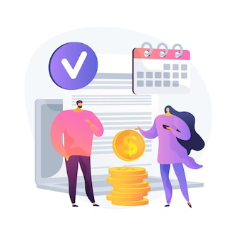 Contract billing, deal terms fulfillment, successful transaction. money transfer for rent, lease payment. payer and cash receiver cartoon characters. vector isolated concept metaphor illustration.