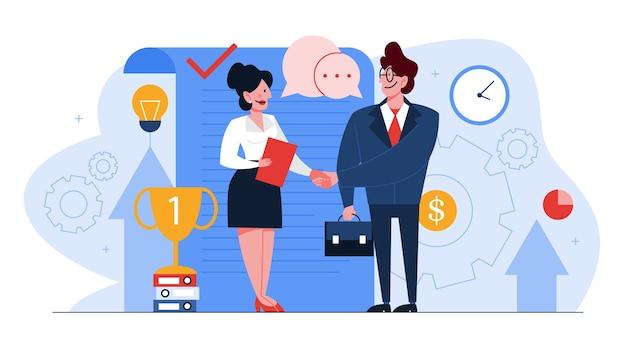 Концепция контракта. официальное соглашение и рукопожатие, идея партнерства и корпоративного бизнеса. иллюстрации шаржа