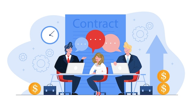 Contract concept. official agreement, idea of partnership and corporate business.   cartoon illustration