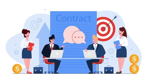 Contract concept. official agreement, idea of partnership