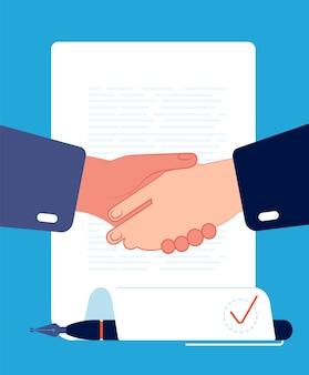 契約ハンドシェイク。ビジネスマンの手は契約企業パートナーシップ金融と投資の概念ベクトルフラットに署名します。イラストハンドシェイク取引、合意とパートナーシップ、ビジネス契約