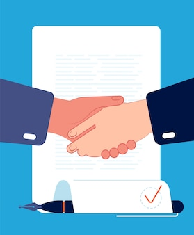 Contract handshaking. businessman hands sign contract corporate partnership finance and investment concept vector flat. illustration handshake deal, agreement and partnership, business contract