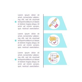 テキスト付きの契約開始と交渉の概念アイコン。契約ライフサイクル管理。 pptページテンプレート。パンフレット、雑誌、線形イラストと小冊子のデザイン要素