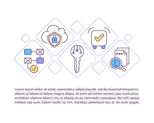 テキストと契約ライフサイクル管理概念アイコン。ビジネス契約の効率を合理化します。 pptページテンプレート。パンフレット、雑誌、線形イラストと小冊子のデザイン要素