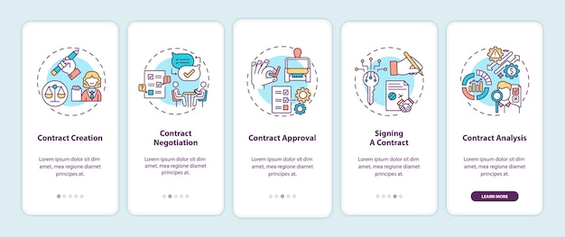 Шаги жизненного цикла контракта на экране страницы мобильного приложения с концепциями
