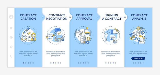 Contract lifecycle steps onboarding  template. contract creation and negotiation processes. responsive mobile website with icons. webpage walkthrough step screens. rgb color concept