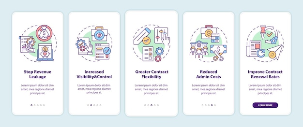 Contract management automation benefits onboarding mobile app page screen with concepts