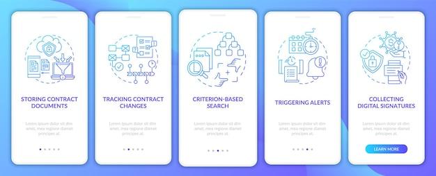 Набор экранов страниц мобильного приложения для функций программного обеспечения для управления контрактами