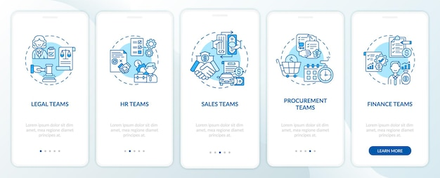 개념이있는 모바일 앱 페이지 화면을 온 보딩하는 계약 관리 소프트웨어 사용자. 인적 자원 팀의 단계별 안내. ui 템플릿 일러스트레이션