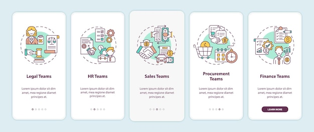 개념이있는 모바일 앱 페이지 화면을 온 보딩하는 계약 관리 소프트웨어 사용자