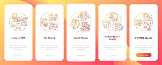 Пользователи программного обеспечения для управления контрактами, загружающие экран страницы мобильного приложения с концепциями